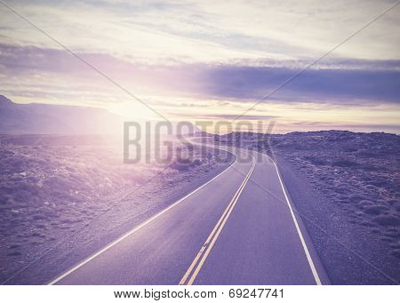 Vintage Picture Of Famous Road, Route 40, Patagonia, Southern Argentina.