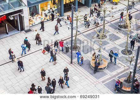 People walking along the Zeil street in Frankfurt, Germany