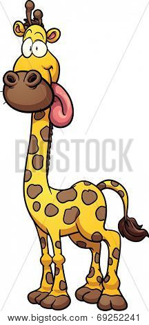 Silly cartoon giraffe. Vector clip art illustration with simple gradients. All in a single layer.