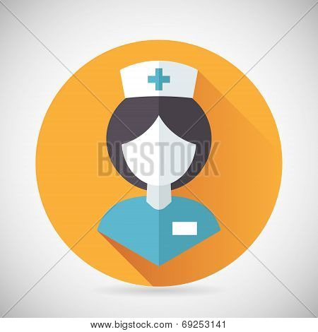 Medical Treatment Nurse Symbol Female Physician Icon with long shadow on Stylish Background Modern F
