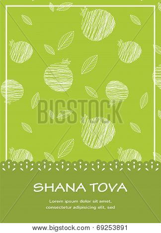 illustration of Rosh Hashanah background with pomegranates.