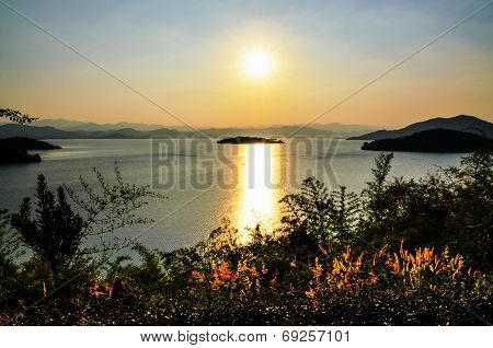Landscape Of The Lake At Sunset.