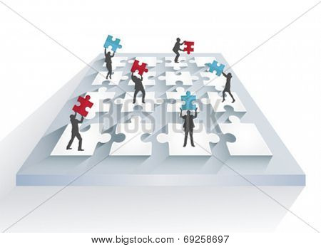 Digitally generated Business people solving jigsaw puzzle together