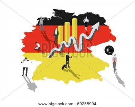 Business people standing on germany with flag colours