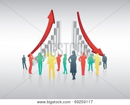 Digitally generated Business people standing with arrows and steps