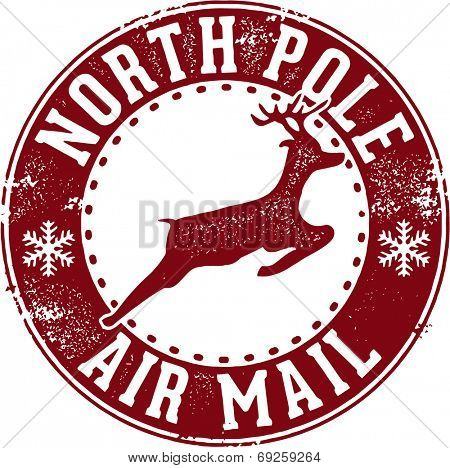 North Pole Air Mail Christmas Santa Stamp