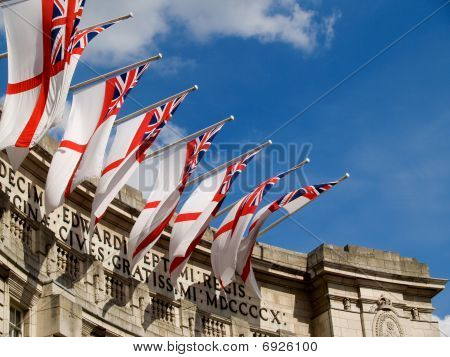 English Ensign over Admiralty Arch, London, UK.