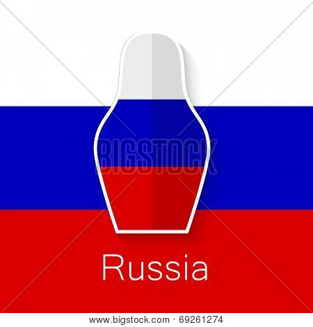 Russian matryoshka doll on background of the flag of the Russian Federation - a symbol of Russia. Vector image.