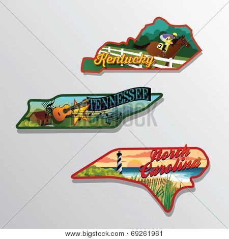 Kentucky, Tennessee, North Carolina, United States vector illustrations