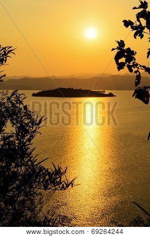 High Angle View Beautiful Lake And Island At Sunset