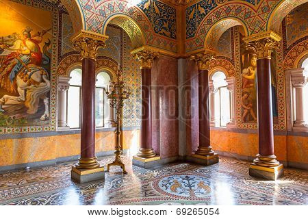 HOHENSCHWANGAU, GERMANY - 19 JUNE 2014:  Interior of the Neuschwanstein Castle in Hohenschwangau in Germany. Neuschwanstein castle is a nineteenth-century palace built for Ludwig II of Bavaria.