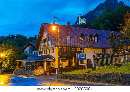 HOHENSCHWANGAU, GERMANY - 19 JUNE 2014: Bavarian architecture of Hohenschwangau village at Neuschwanstein Castle, Germany. Hohenschwangau is a village located between two popular castles.