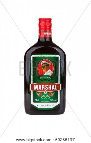 ZAGREB, CROATIA - JULY 24, 2014: Marshal, a herbal liqueur with a delicate touch of aromatic herbs such as juniper and fennel, satisfy even the most discerning tastes. It's produced in Slovenia.