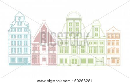 Row of vintage town houses. Four pastel colored town houses in historic styles vector illustration.