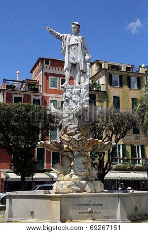 SANTA MARGHERITA TOWN, LIGURIA, ITALY - MAY 04: Monument to Christopher Columbus (by Odoardo Tabacchi, 1892), on May 04, 2014 in Santa Margherita Ligure, Liguria, Italy
