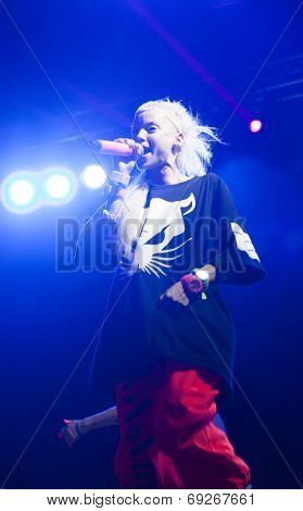 BONTIDA - JUNE 19: Die Antwoord, the South African rap-rave band from Cape Town performs live at Electric Castle Festival at June 19, 2014 in the Banffy castle in Bontida, Romania