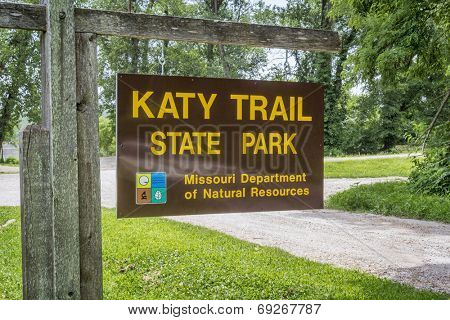 PORTLAND, MO, USA - JULY 12, 2014: Welcome sign for Katy Trail State Park. The park is the nation's longest rails-to-trails project, stretching from the Machens to Clinton.
