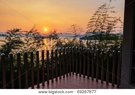 High Angle View Beautiful Lake At Sunset From Resort