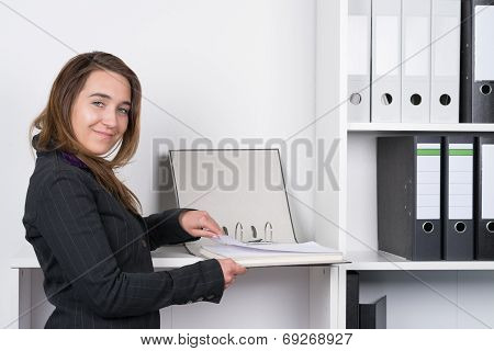Woman Is Browsing A File