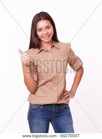 Happy Latin Woman With Ok Thumb