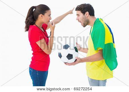 Brunette sending off a brazilian fan on white background
