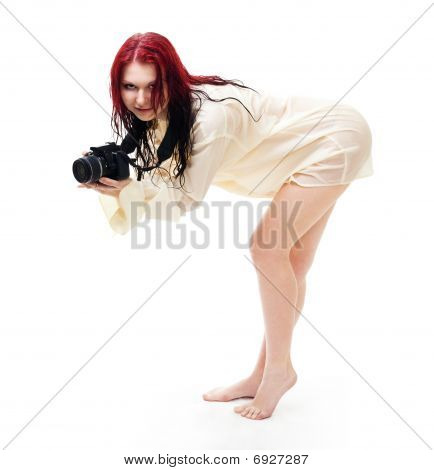 Attractive Woman Photographer Posing