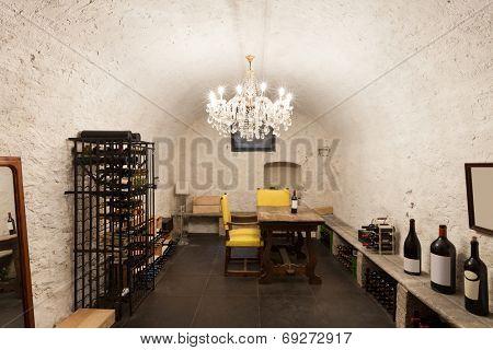 Wine cellar with wine bottle, interior