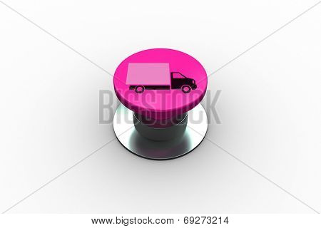 Composite image of lorry graphic on pink push button