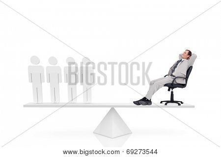 Scales weighing businessman on swivel chair and stick men on white background