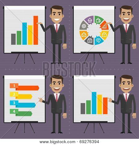 Infographics businessman indicates on flipchart