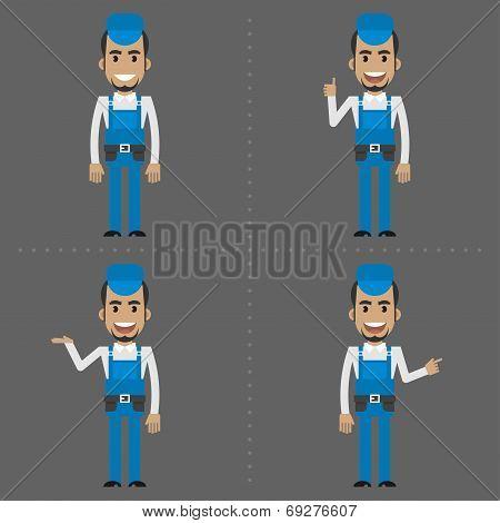 Repairman indicates in various poses