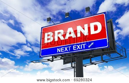 Brand Inscription on Red Billboard.