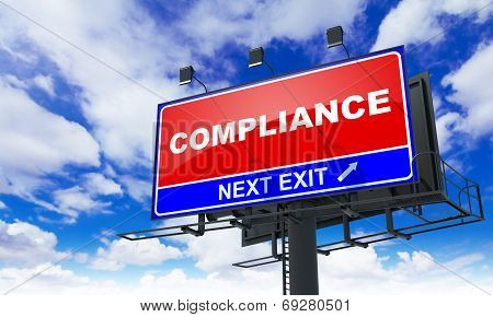 Compliance Inscription on Red Billboard.