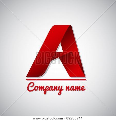 Icon of paper business logo letter a