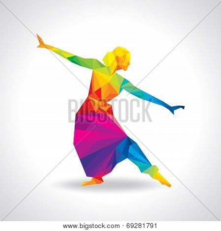 illustration of Indian classical dancer performing