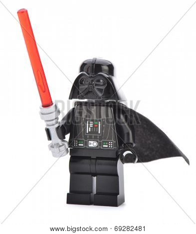 Ankara, Turkey - April 06, 2013: Close up of a Lego Darth Vader minifigure with sword isolated on white background.