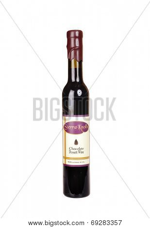 Hayward, CA - July 29, 2014: 300ml bottle of Sierra Knolls Chocolate Dessert Wine