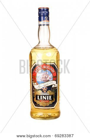 Hayward, CA - July 29, 2014: 750 mL bottle of Linie Aquavit distilled in Norway