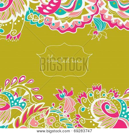 Invitation Card With Ornate Flowers And Leaves.