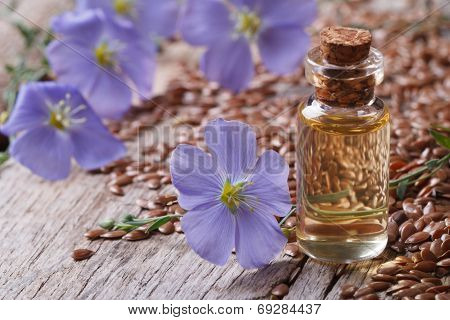 Flax Oil In A Glass Bottle Closeup, Flowers And Seeds