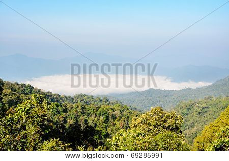 High Mountain And Fog In The Morning