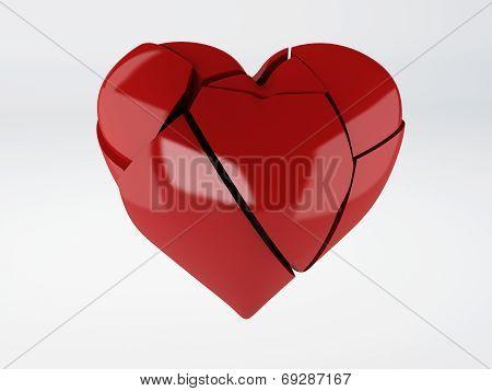 red broken heart om white background