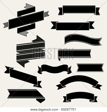 Retro Ribbon Set, Vector Illustration