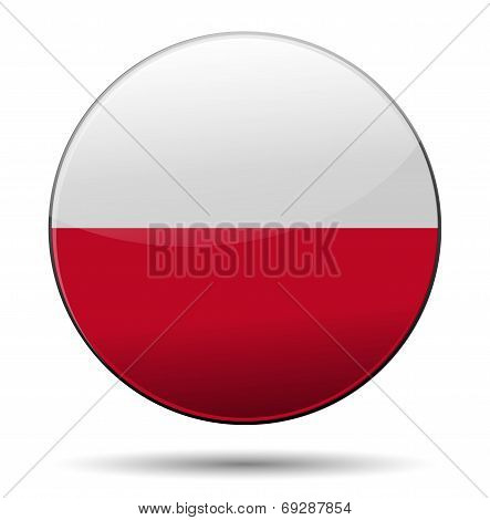 Poland Flag Button With Reflection And Shadow. Isolated Glossy Flag Of Poland.