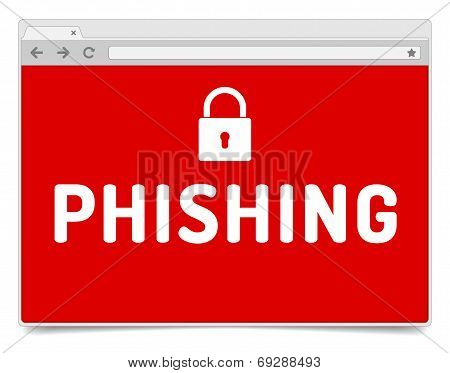 Phishing Alert On Opened Internet Browser Window With Shadow