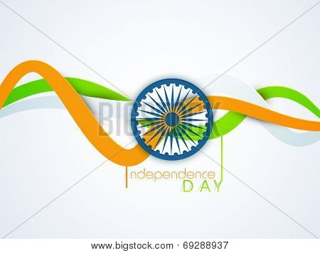 Shiny blue Asoka Wheel with national tricolors stripe on blue background for 15th of August, Indian Independence Day celebrations.