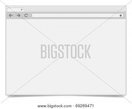 Simple Opened Browser Window On White Background With Shadow.