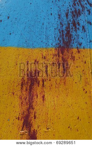 KIEV, UKRAINE - JULY 15, 2014. Ukraine flag graffiti .Civil War in Ukraine. July 15, 2014 Kiev, Ukraine