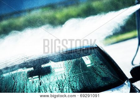 Washing Car In Car Wash