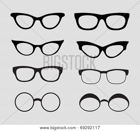 Glasses Vector Set. Retro, Hipster Styles